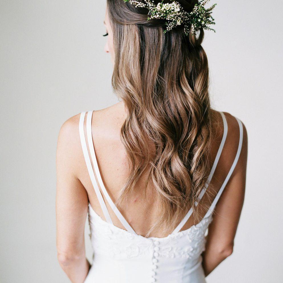 Floral adorned half-up, half-down style