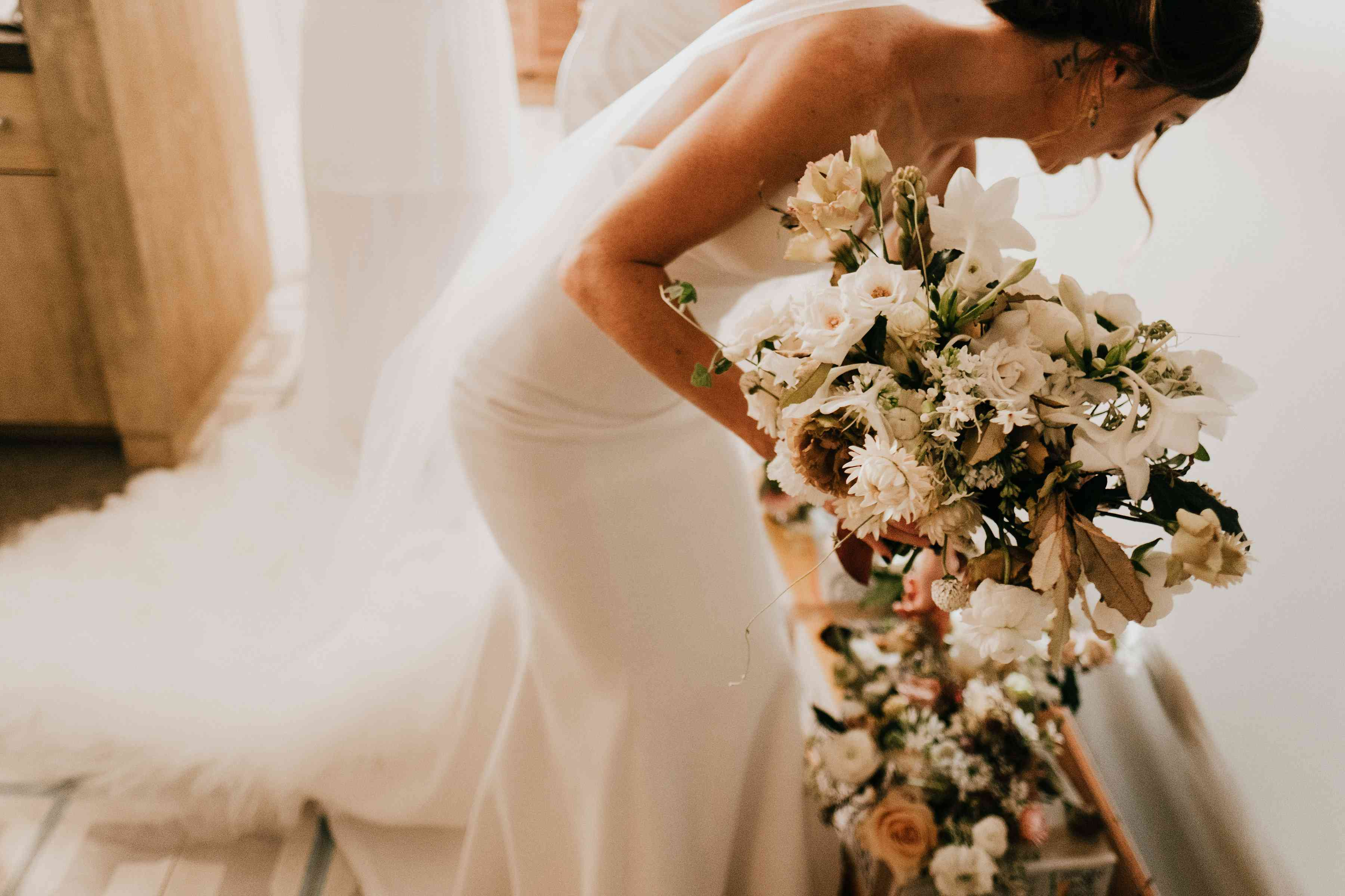 Bride holding Bouquet