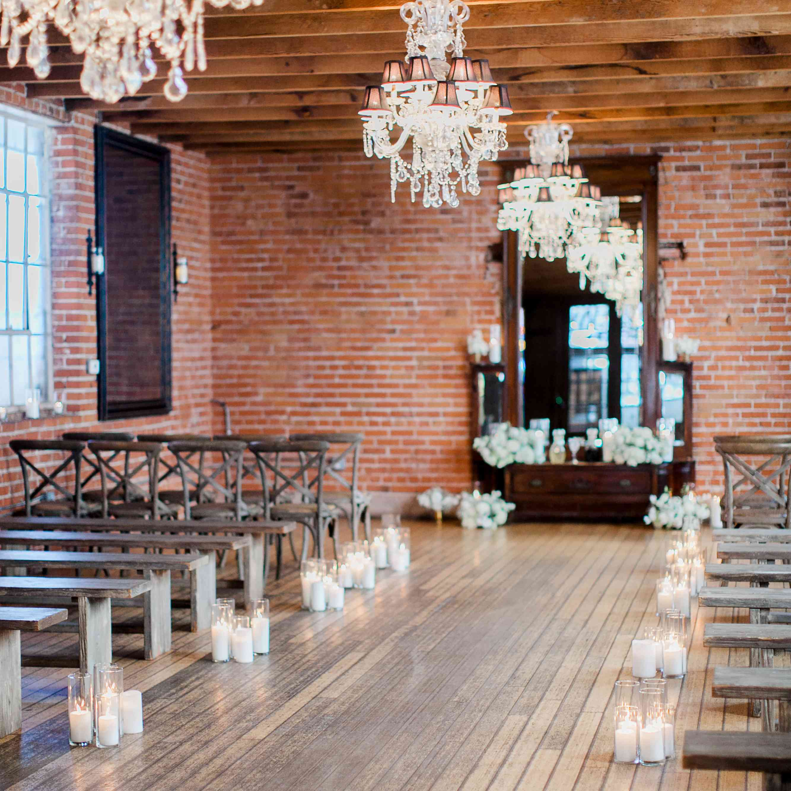 Candle-lined ceremony aisle