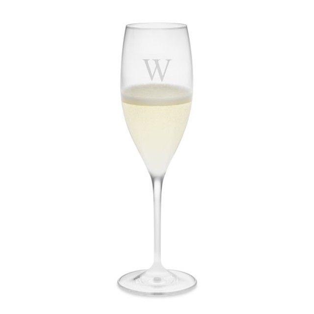 Monogrammed Riedel Vinum Champagne Flutes