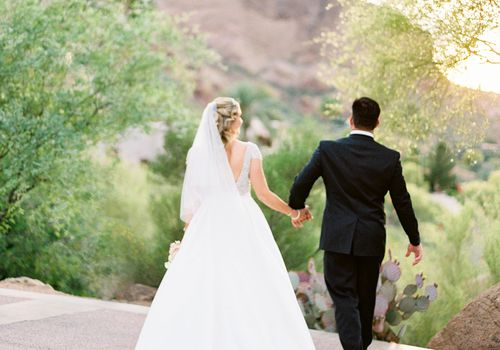 Bride and groom holding hands shot from behind