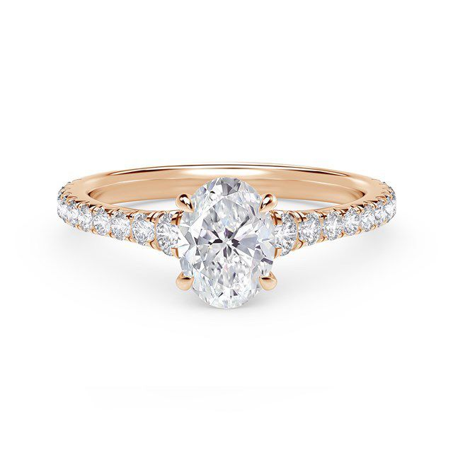 Forevermark Icon Setting Oval Engagement Ring with Diamond Band