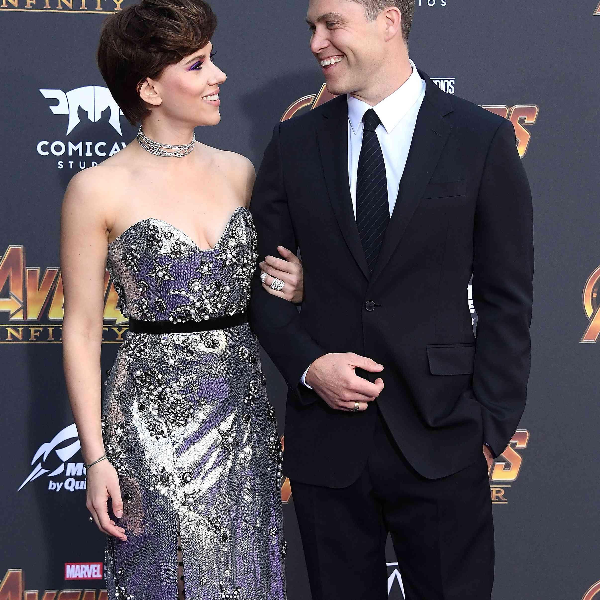 Scarlett Johansson and Colin Jost Red Carpet Debut Avengers