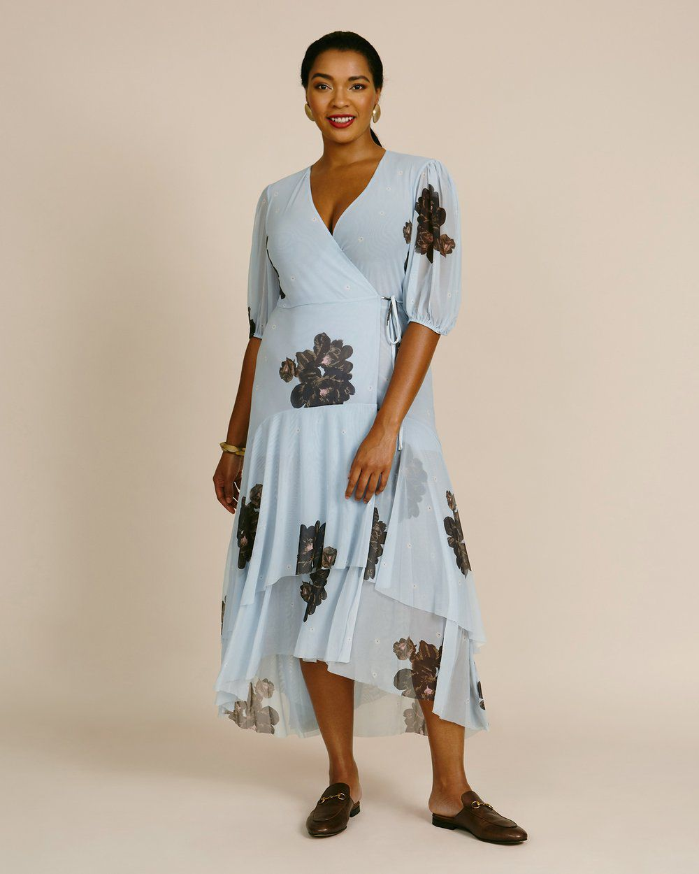 Ganni Printed Mesh Dress, $345, on sale $242