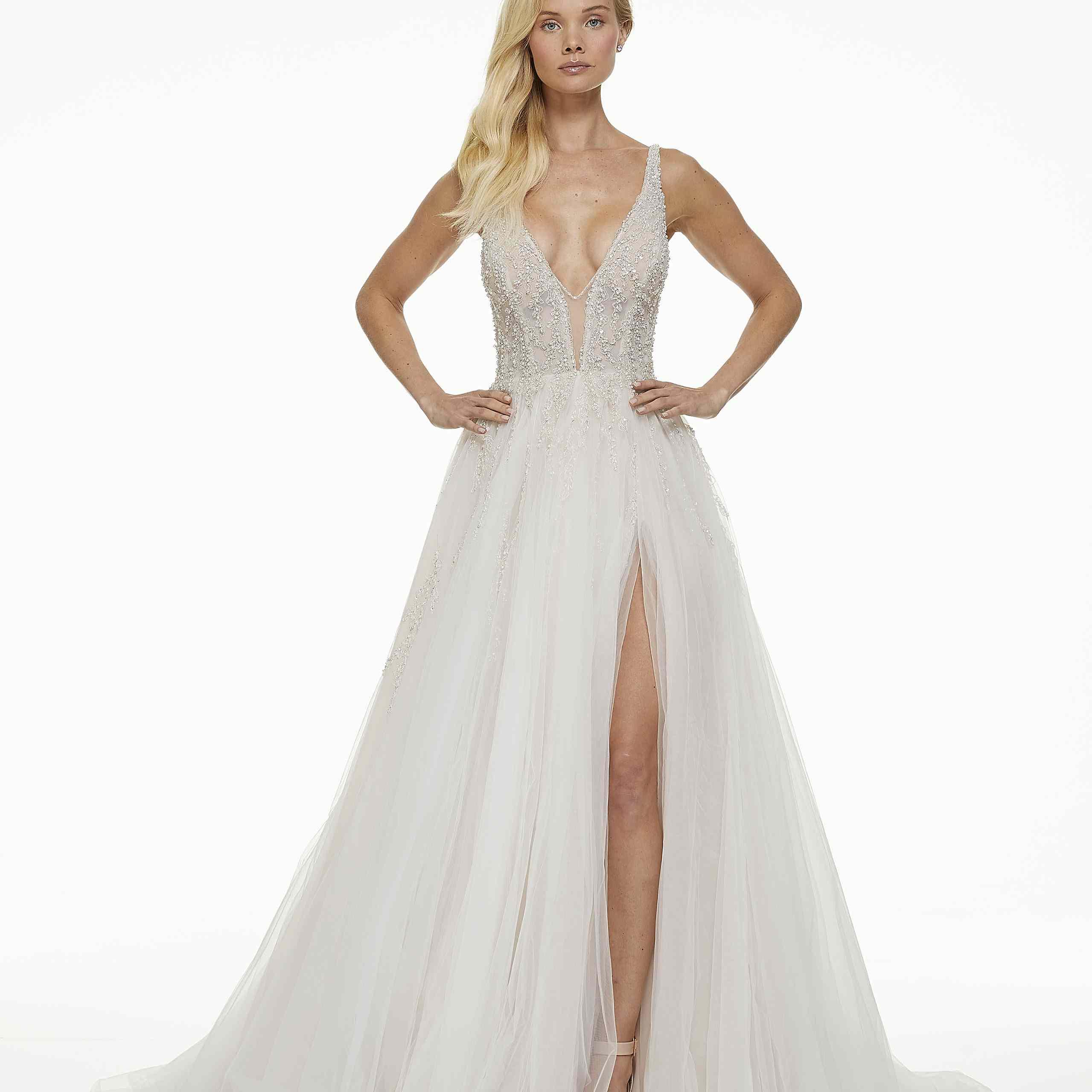 Model in deep V-cut A-line wedding dress