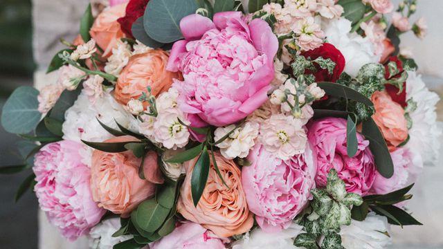 LARGE Wedding Bouquet Lilac Lavender Navy Grey Peony