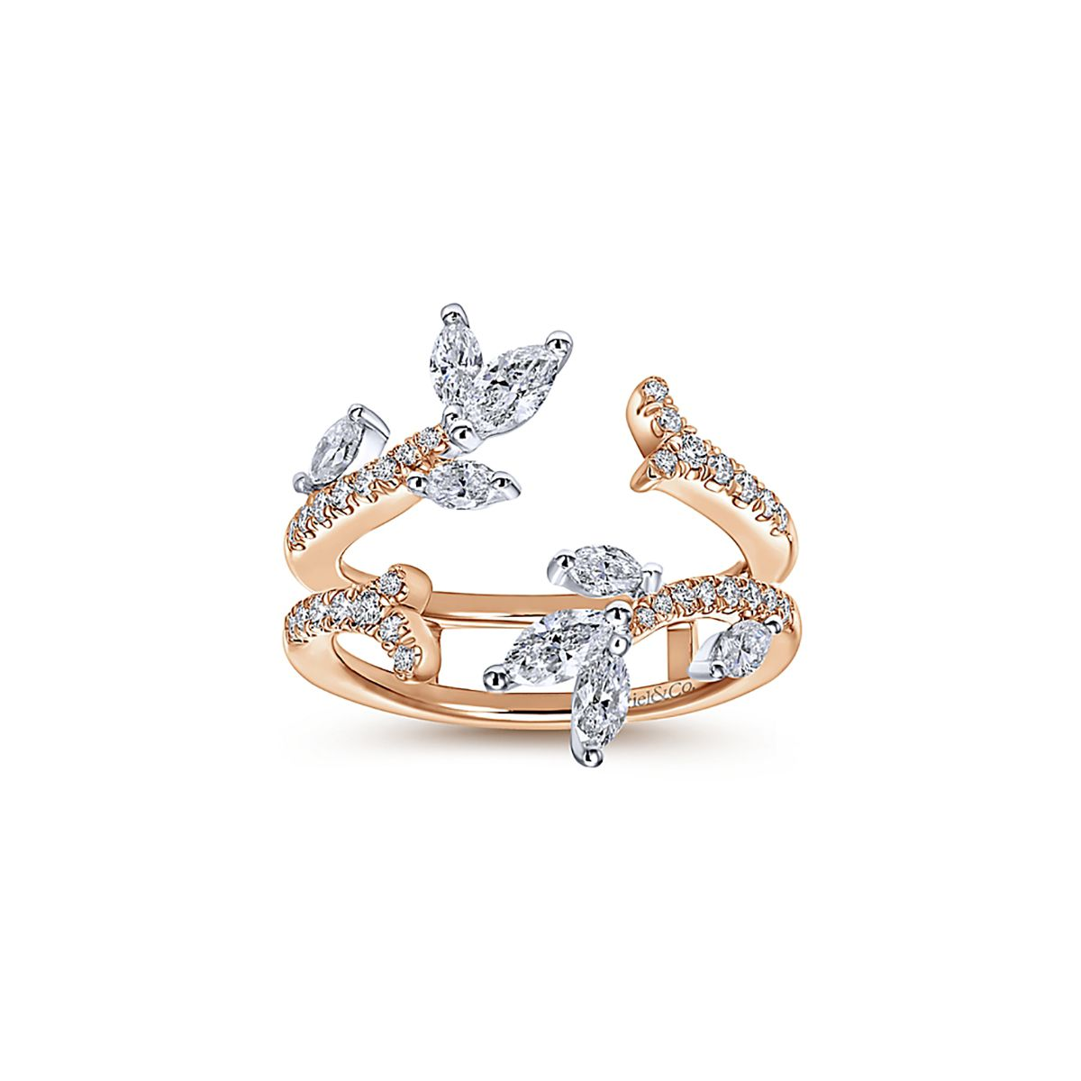Gabriel New York White and Rose Gold Marquise Enhancer Band