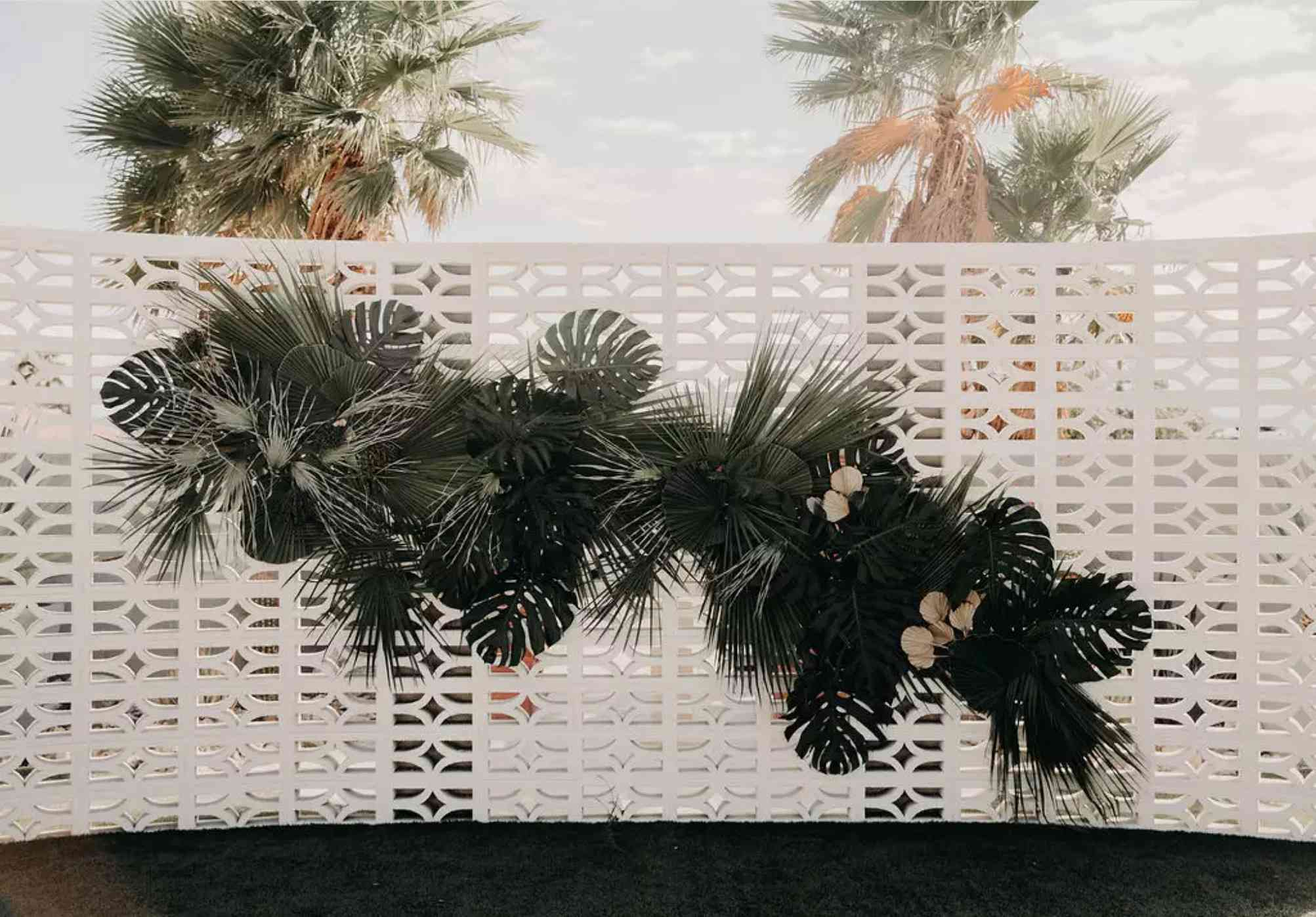 Monstera palm nuptial ceremony backdrop
