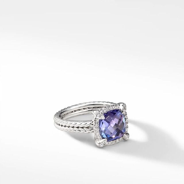 David Yurman Châtelaine Pave Bezel Ring With Tanzanite and Diamonds