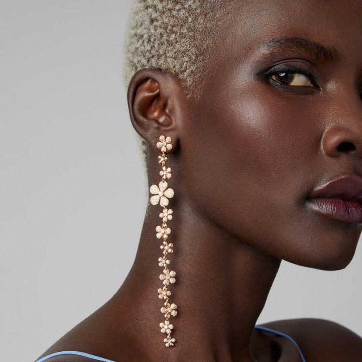 Rose Gold Stud Earrings Diamond Rose Gold Studs Bride Rose Gold Dangles Rose Gold Chandeliers Bridesmaids Earrings Rose Gold Bridal Earrings