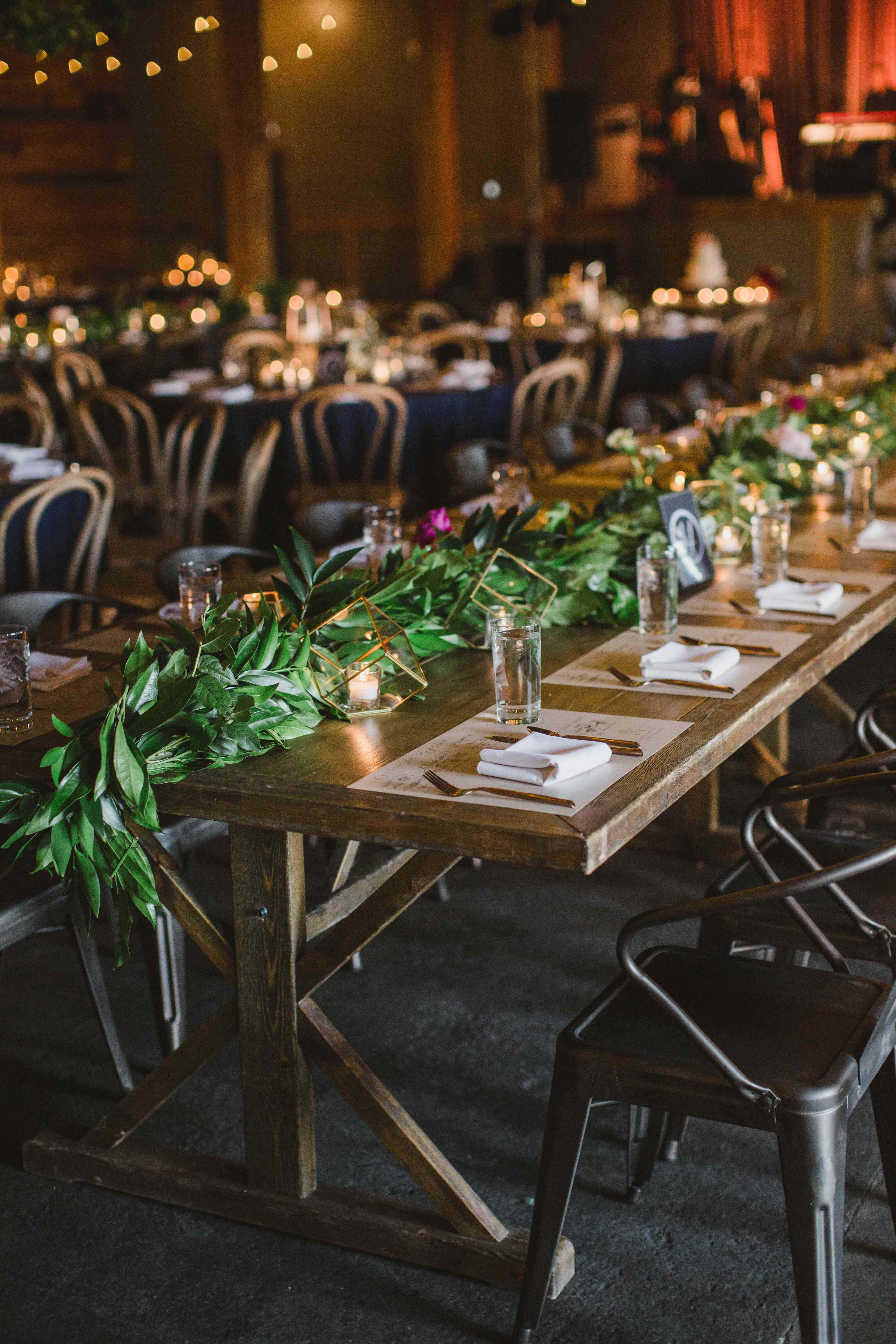 A simple table setup with greens in the middle