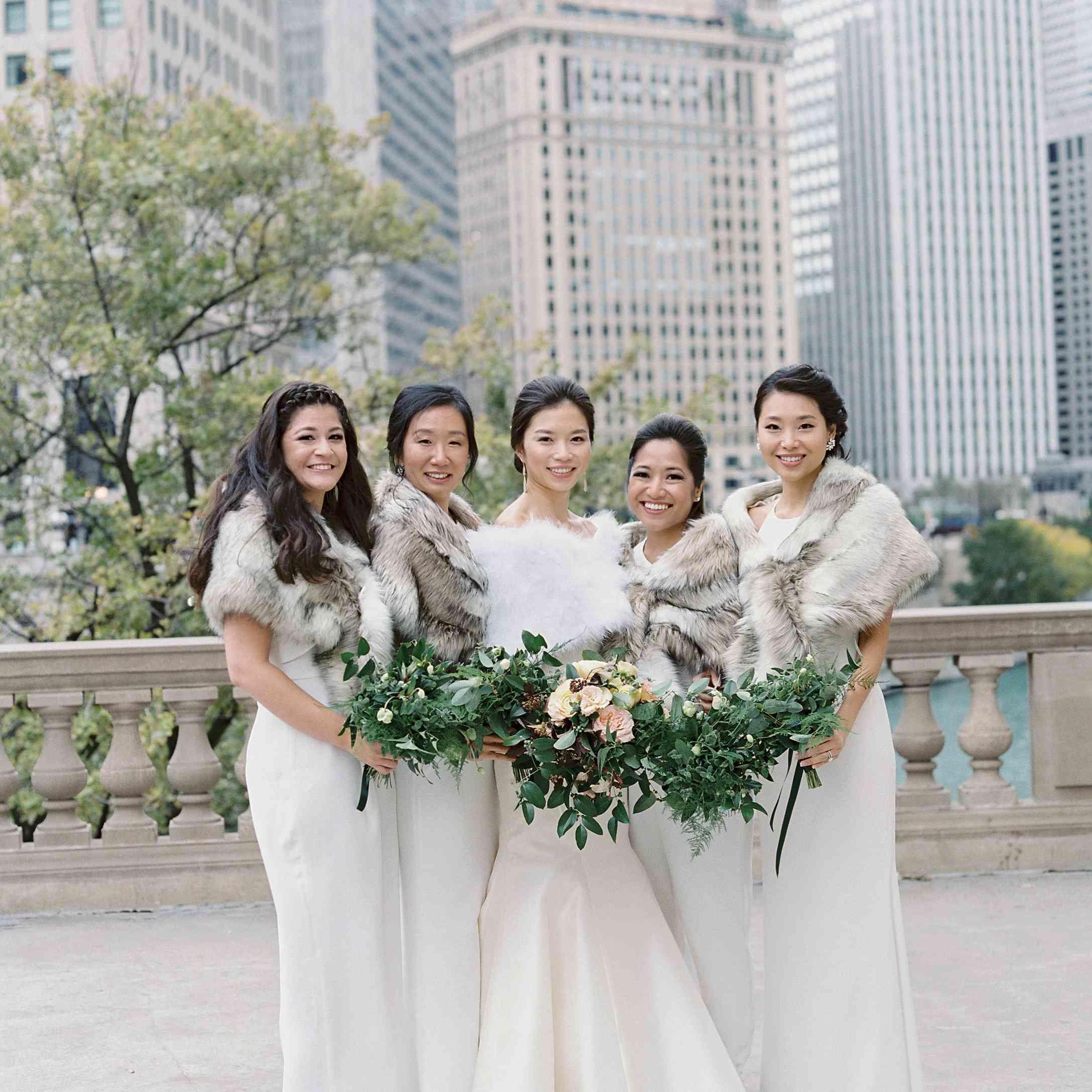 Bride and bridesmaids in faux fur stoles