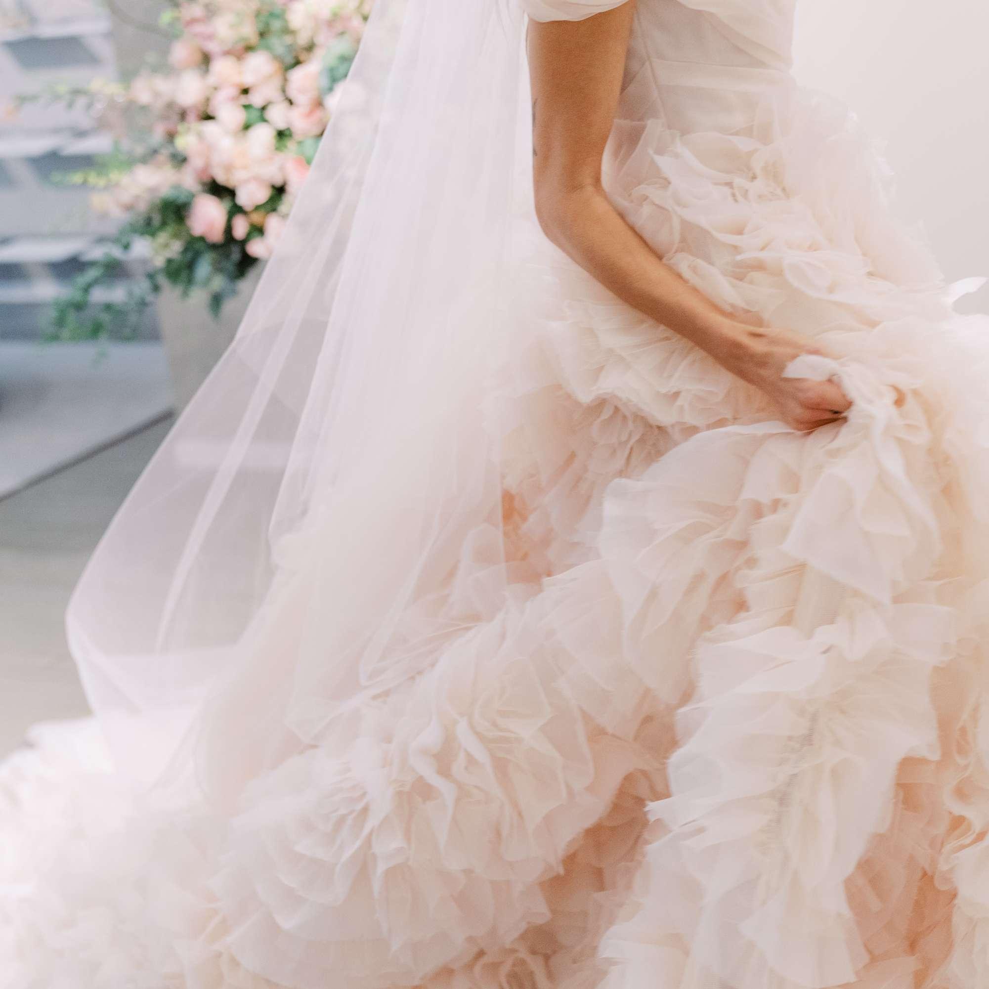 Monique Lhuillier blush wedding dress