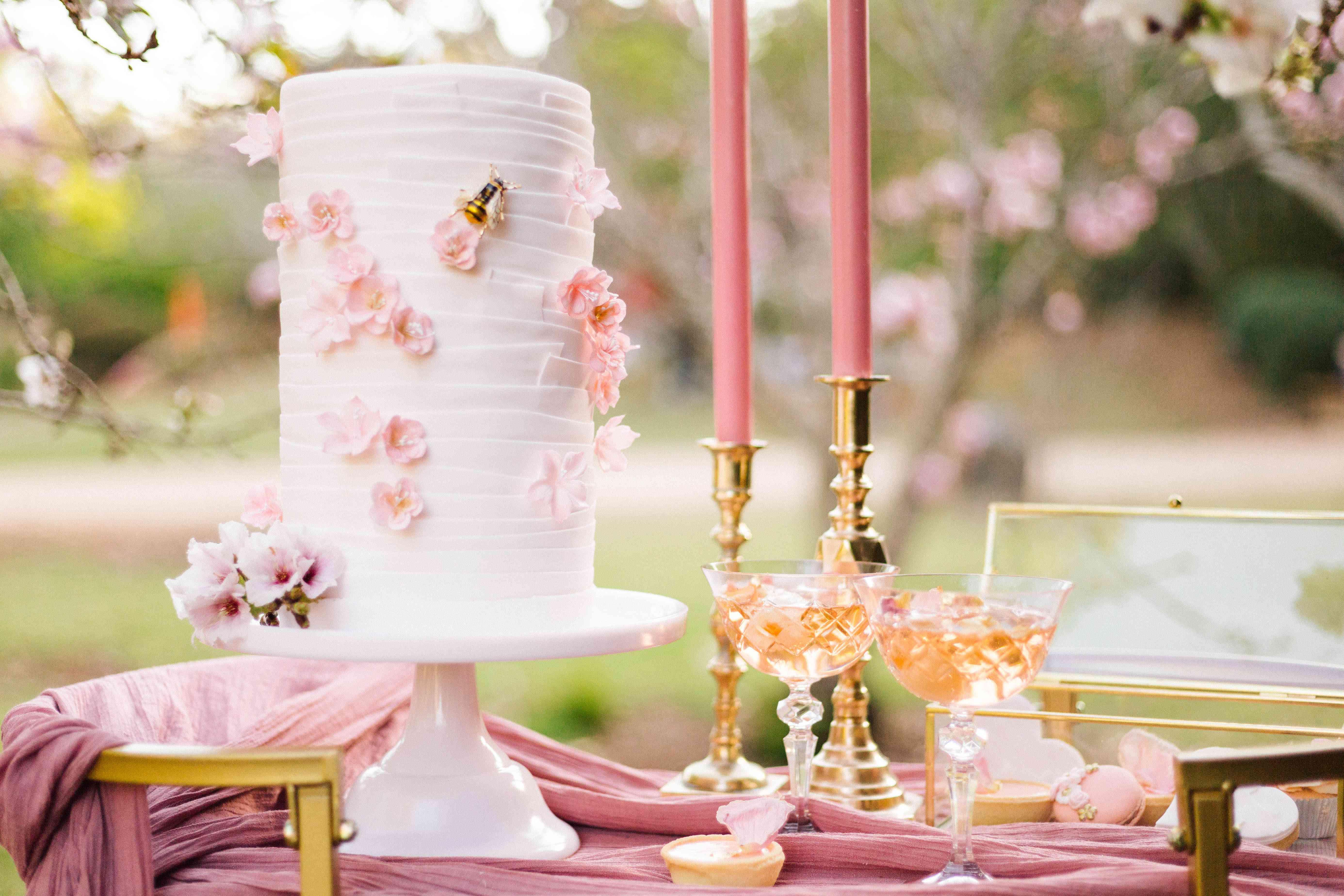 textured cherry blossom cake
