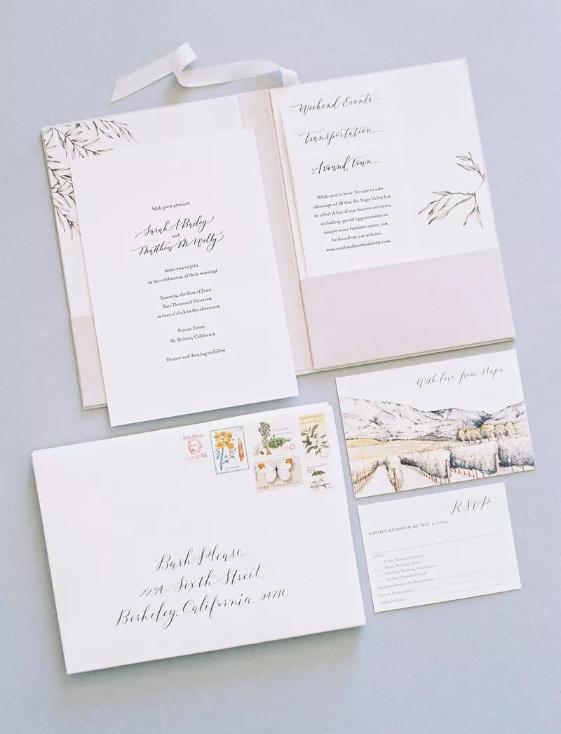 Pink and white invitation suite