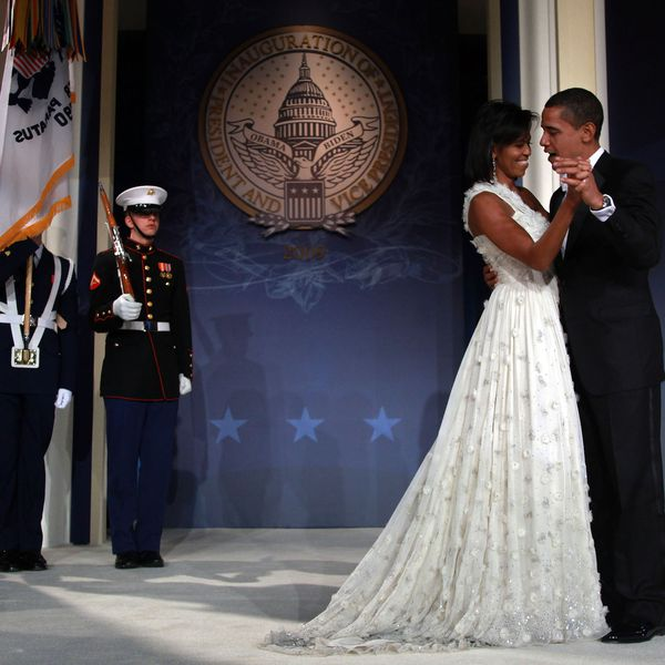 Michelle Obama and Barack Obama share a dance during an inaugural ball