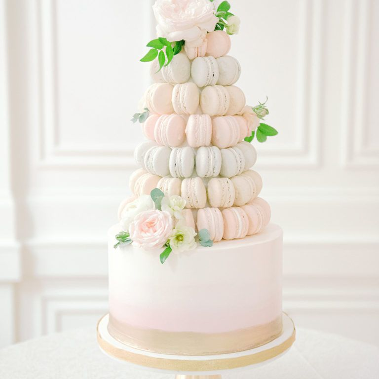 cake with macarons on top
