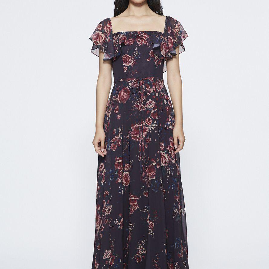 Marchesa Notte Ruffled Multi-Option Sleeve Bridesmaid Dress $325