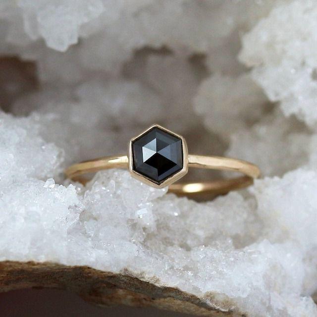 Shop Clementine Black Diamond Hexagon Ring