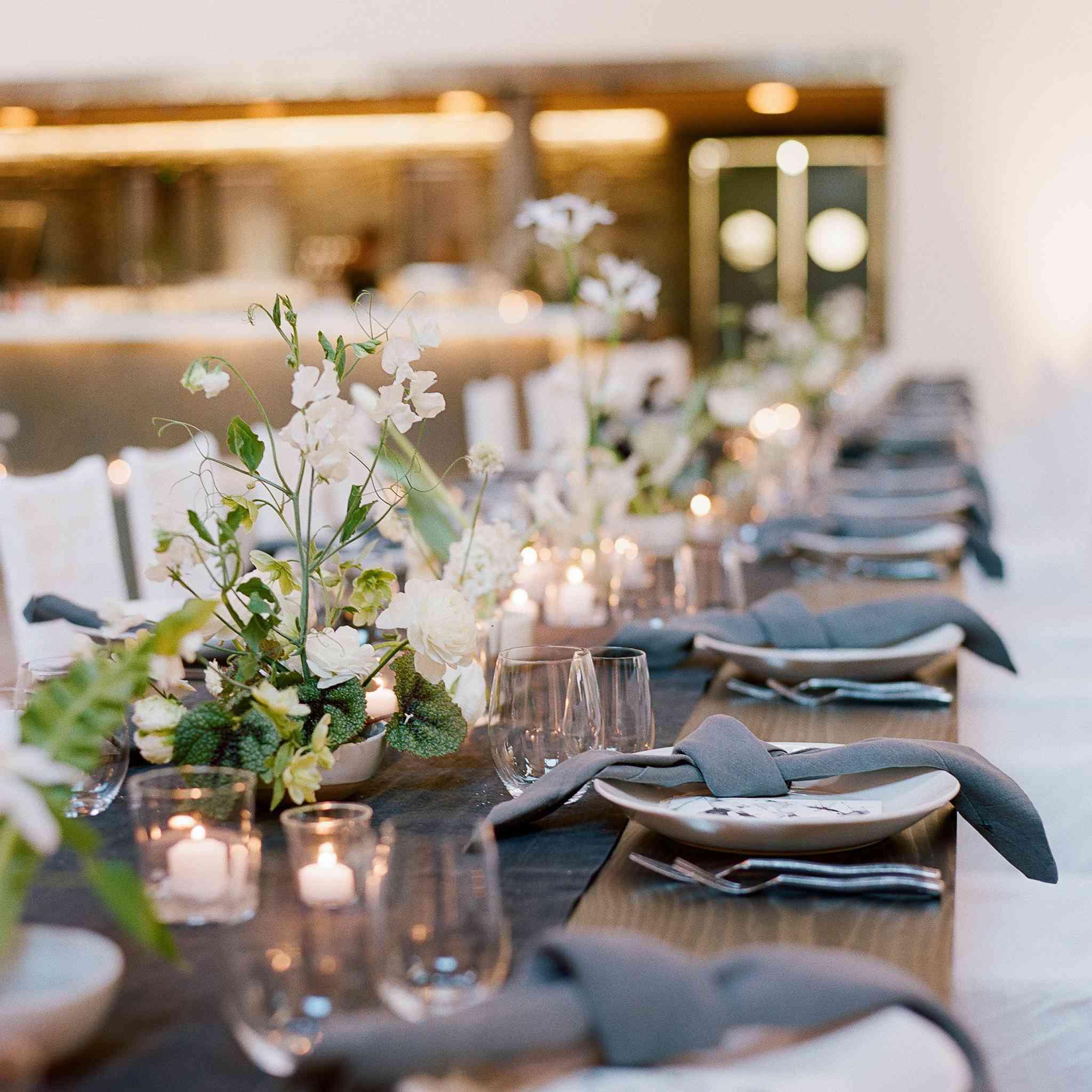 Table setup at a wedding reception