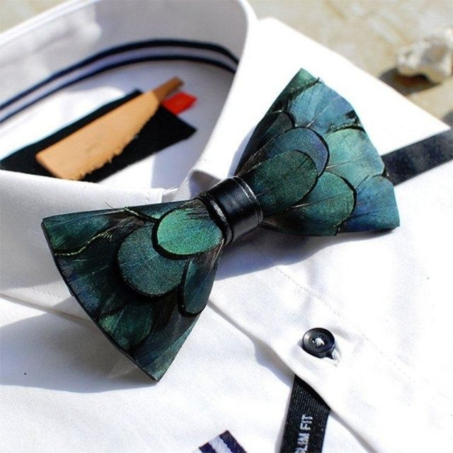 Bow SelecTie Emerald Green Feather Bowtie