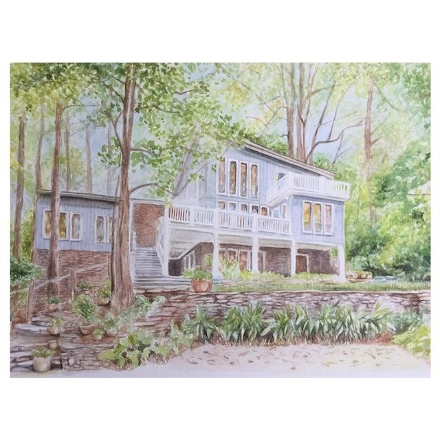 Custom Watercolor House Portrait by Dori