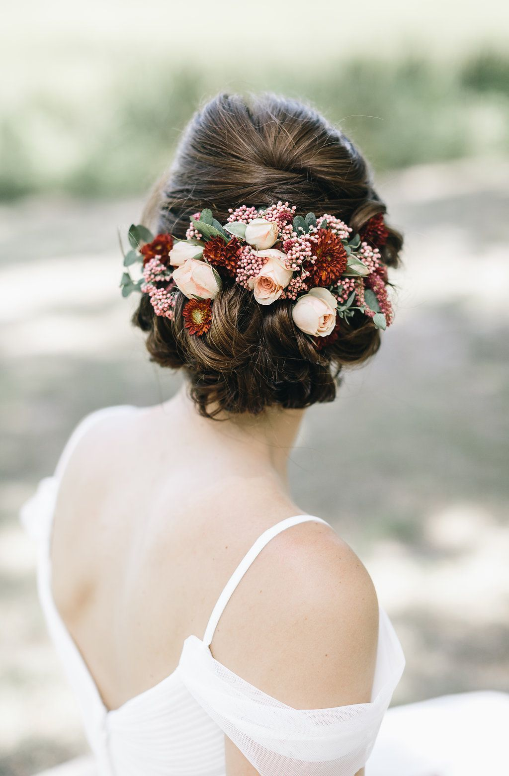 Updo with flowers