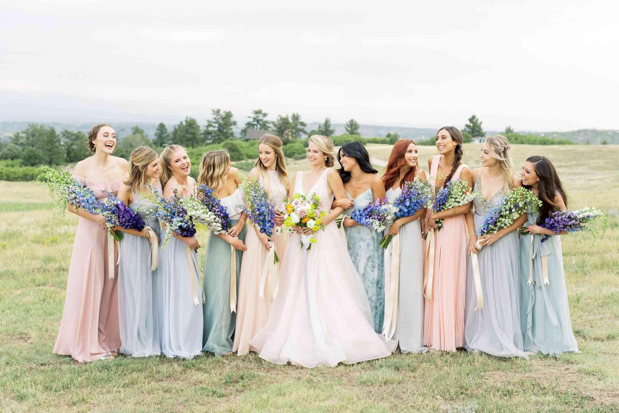 bridal party mismatched dresses