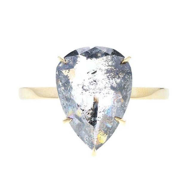 Concierge Diamonds Inc. Rose Cut Pear Shaped Salt and Pepper Diamond Solitaire Engagement Ring
