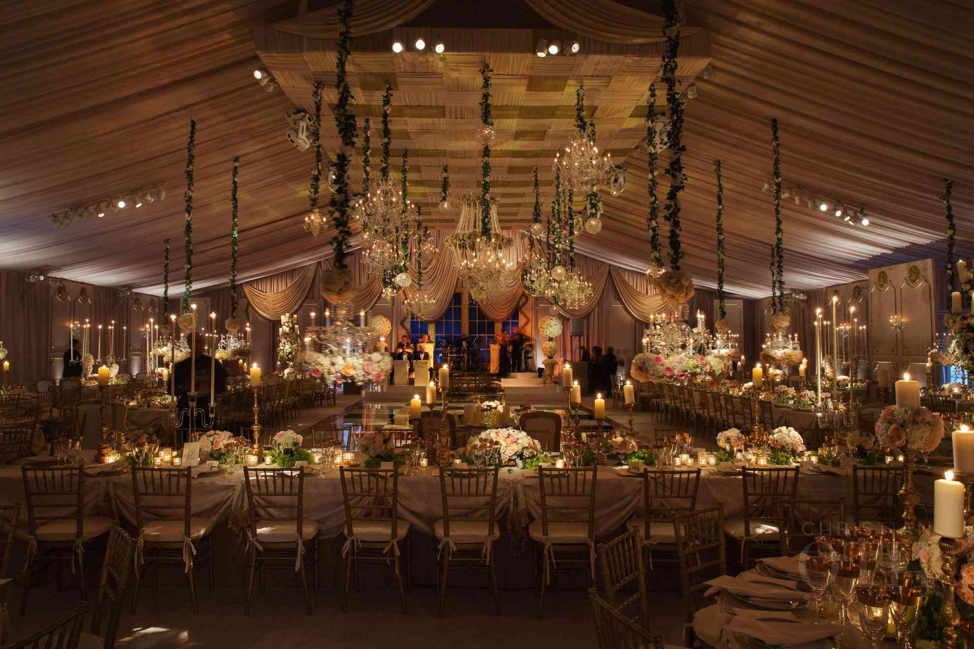 The interior of a spacious tented space.