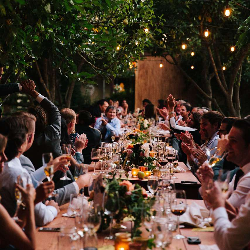 guests dining at reception