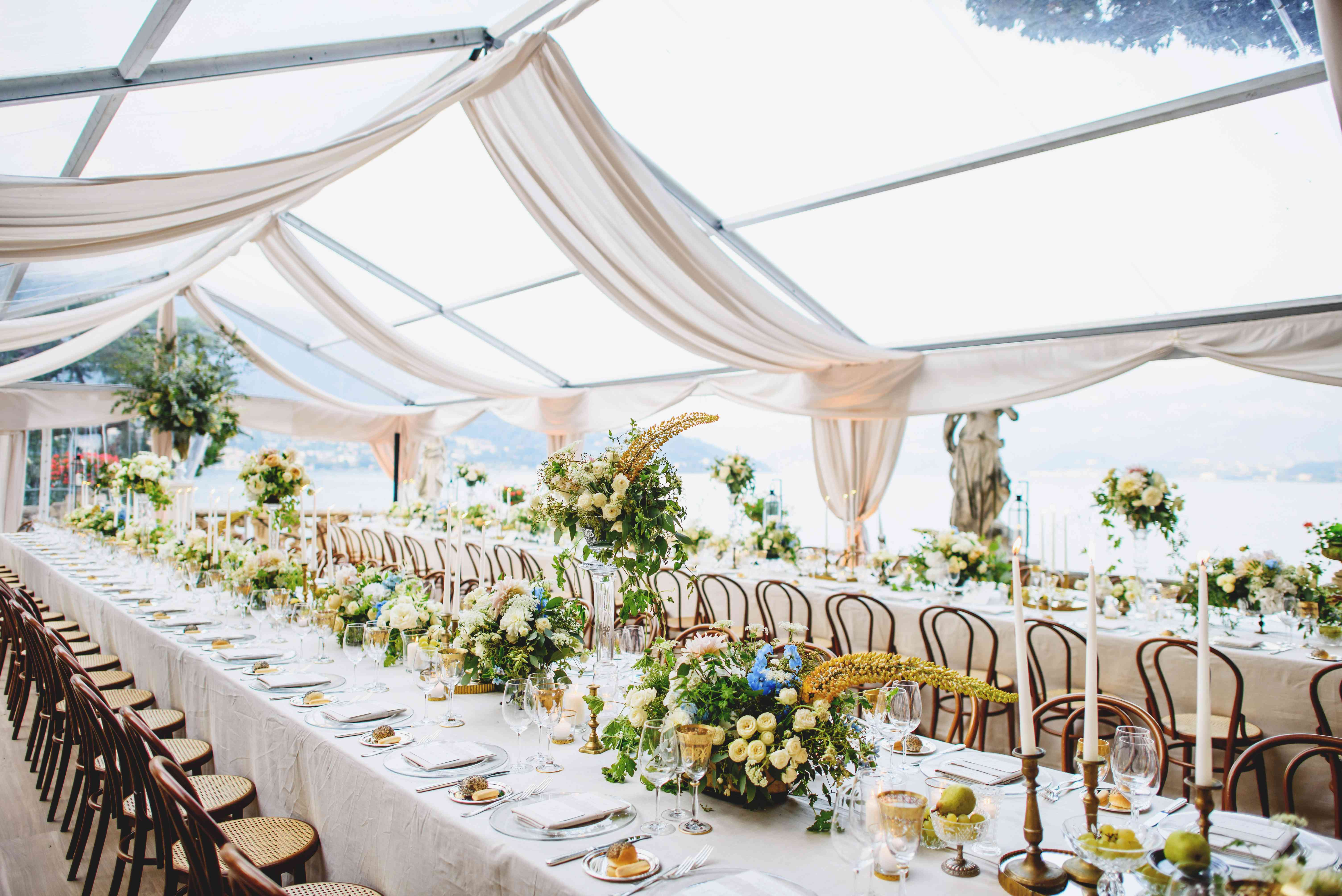tented wedding reception seating