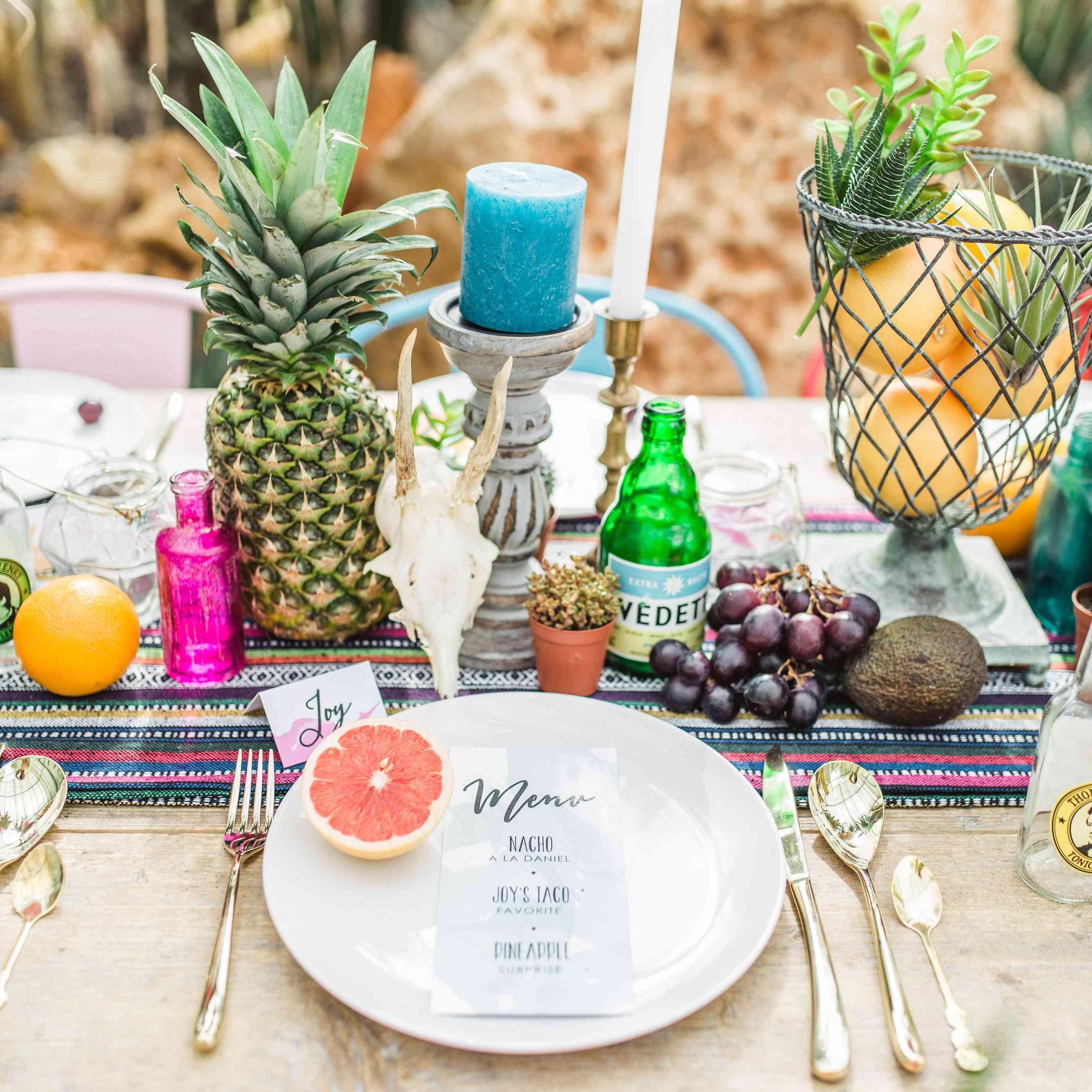 Bright tropical fruit tablescape