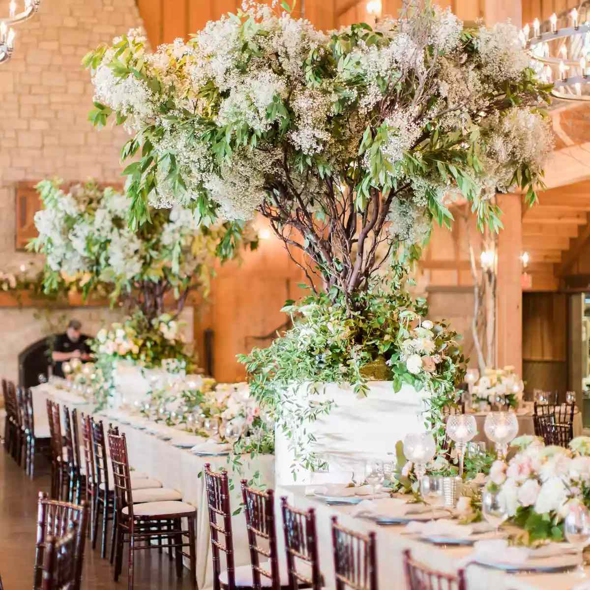 white and green branch centerpiece