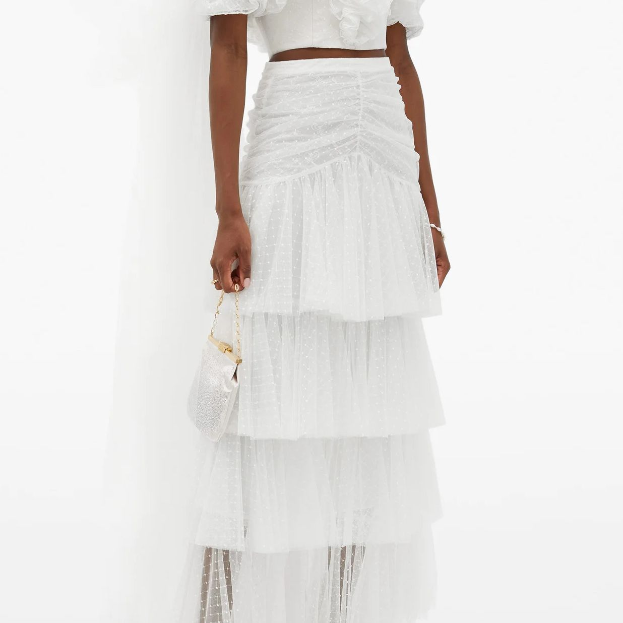 Ruffled Top and Tiered Tulle Skirt