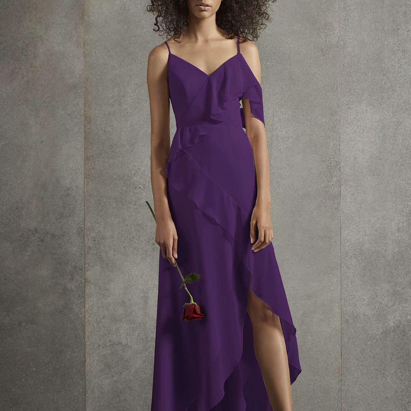 Lavender Silk Bridesmaid Dress Maxi Flared Gown