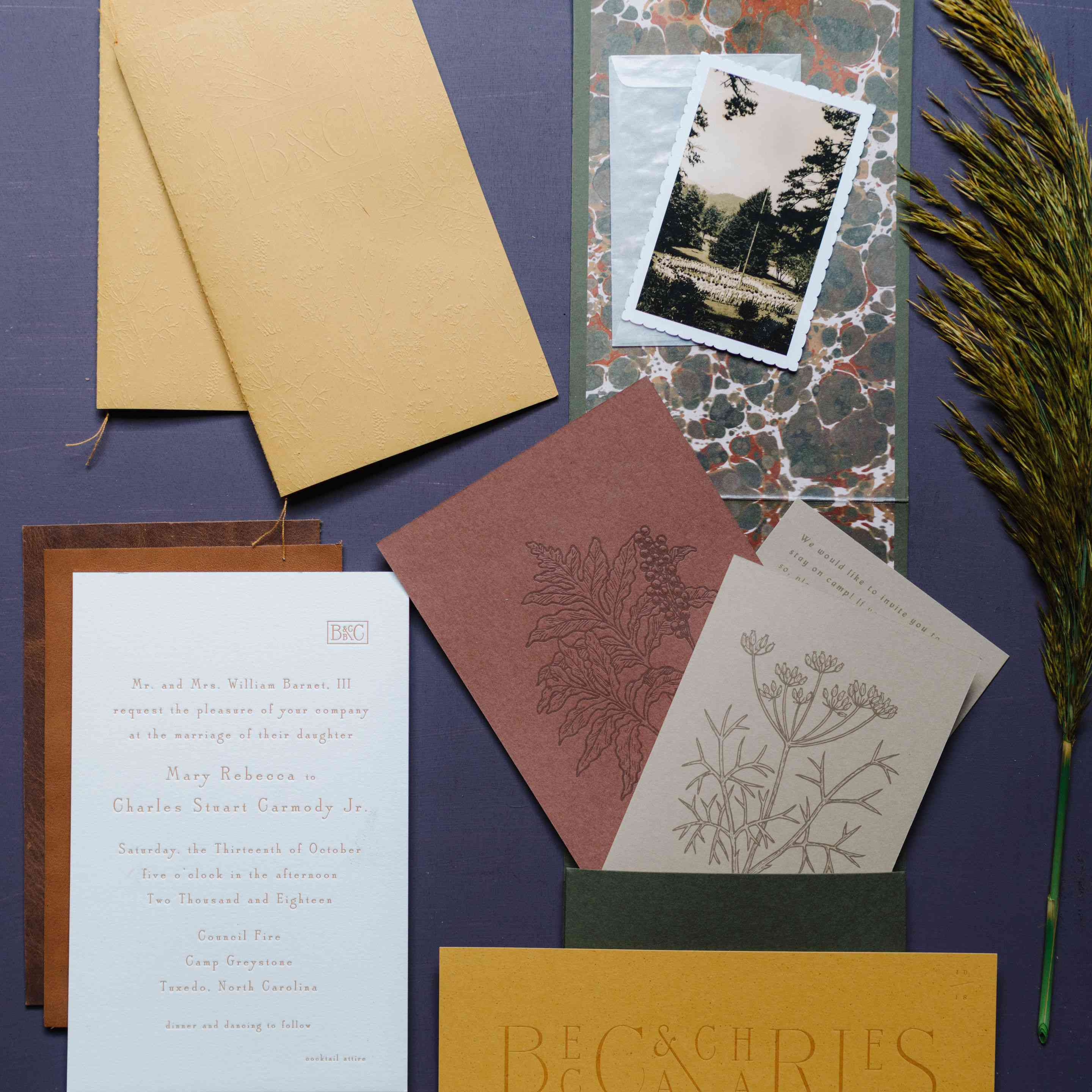 Fall wedding invitations with a burnt color palette