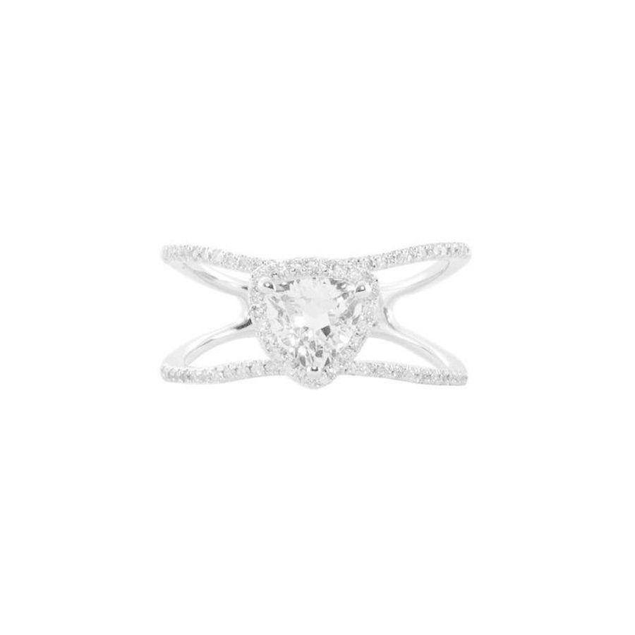 Luna Skye 14kt Gold and Diamond Double Band Topaz Trillion Ring