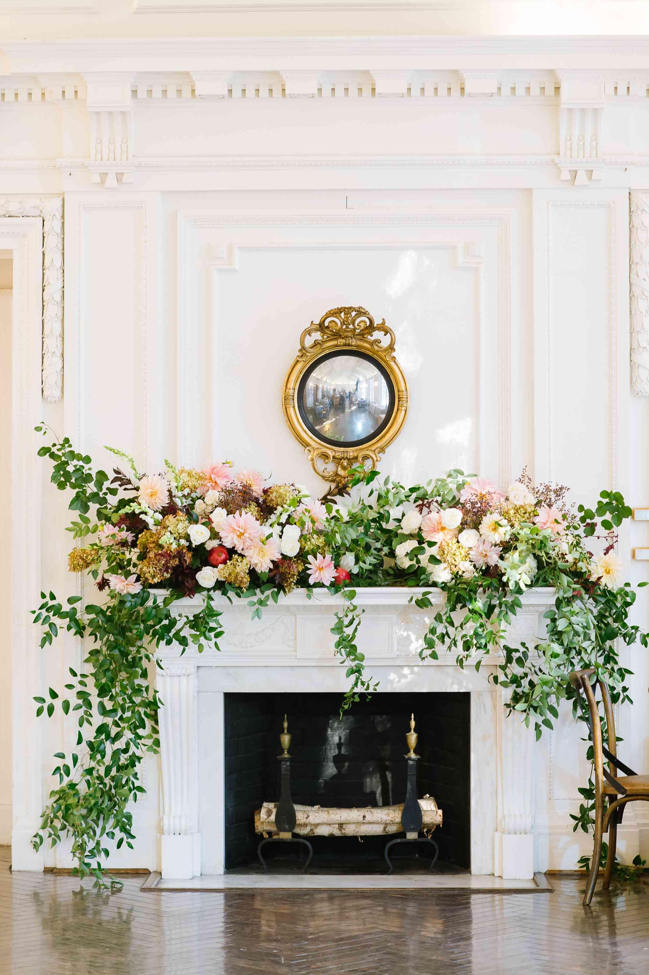 Floral arrangement on fireplace