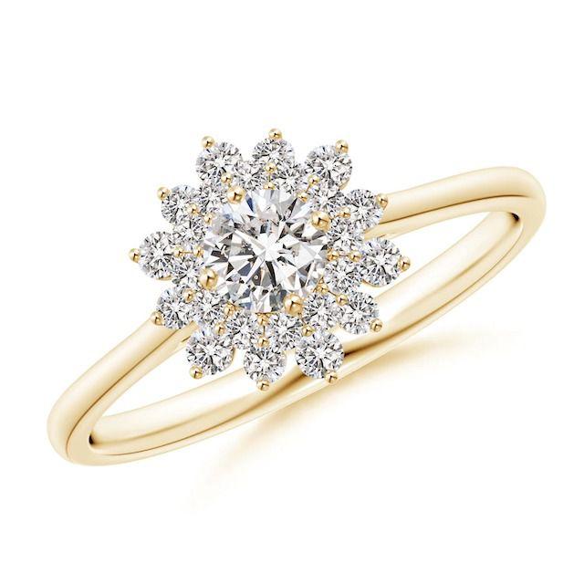 Angara Classic Double Floral Halo Diamond Ring