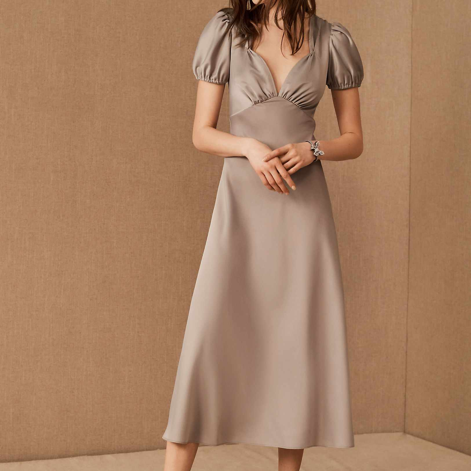 Satin Charmeuse Midi Dress