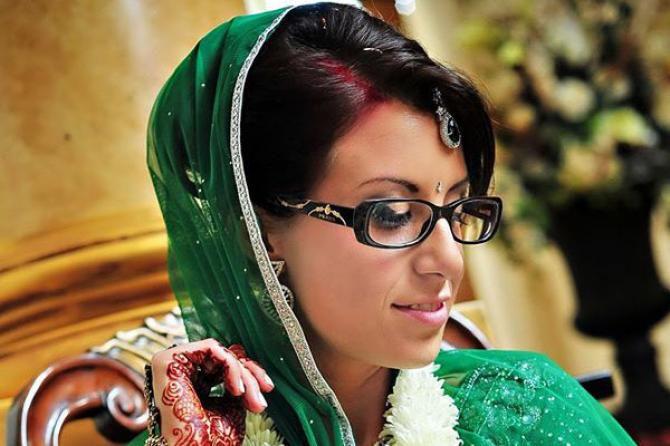 Indian bride wearing glasses