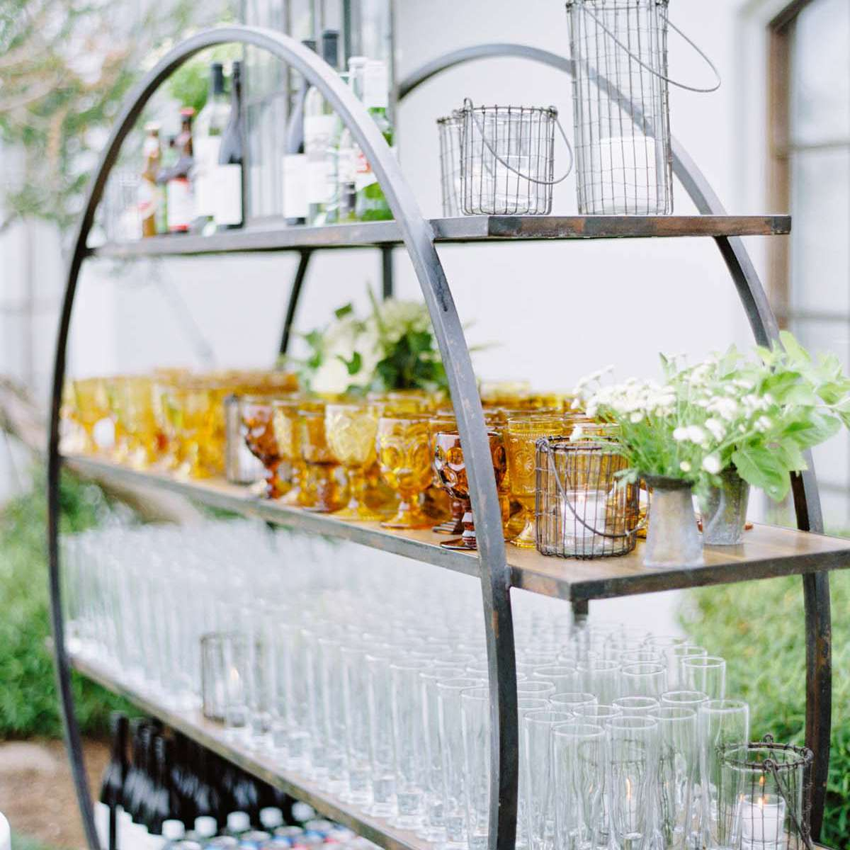glassware on a bar cart