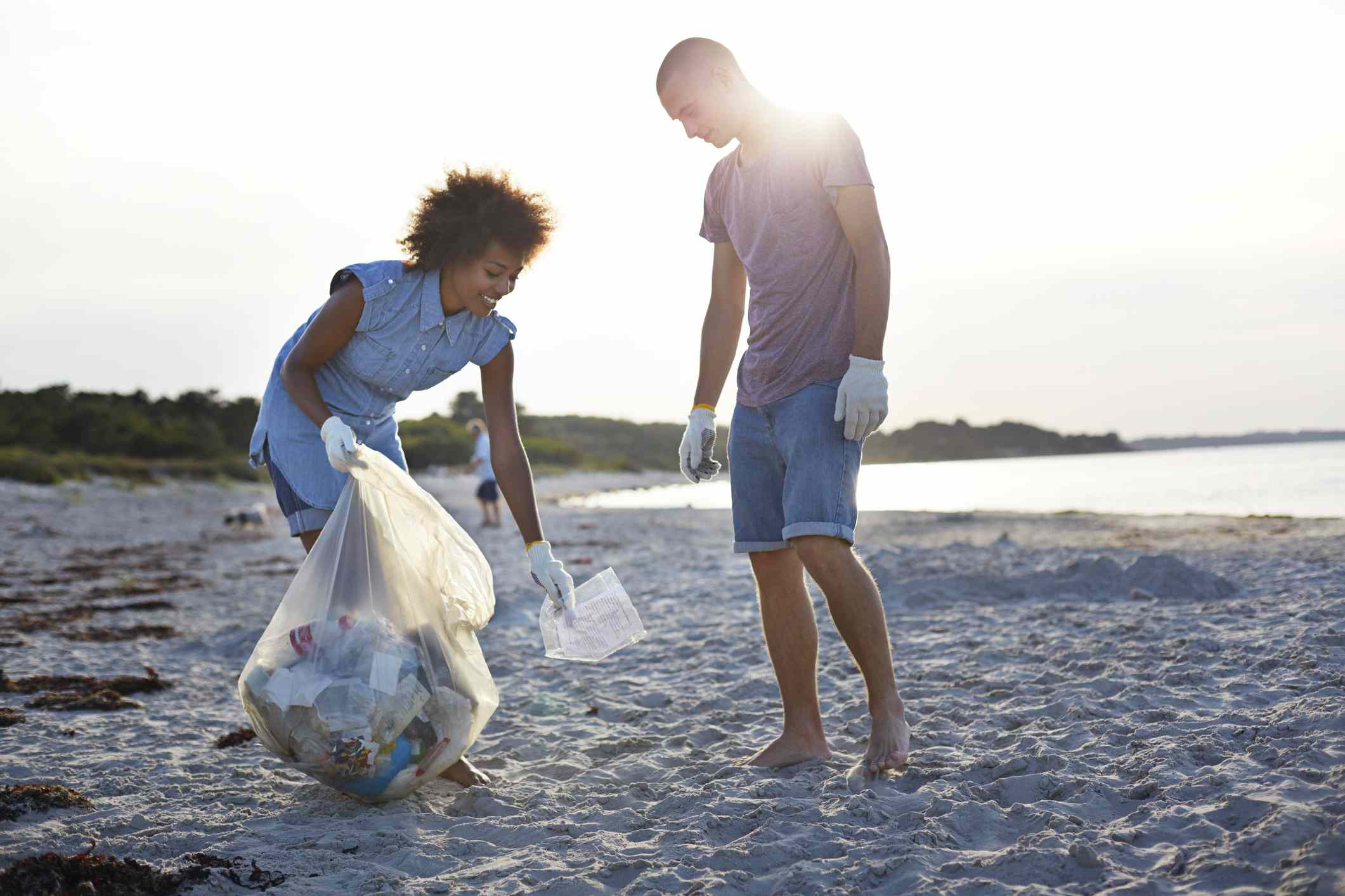 Couple at beach cleanup