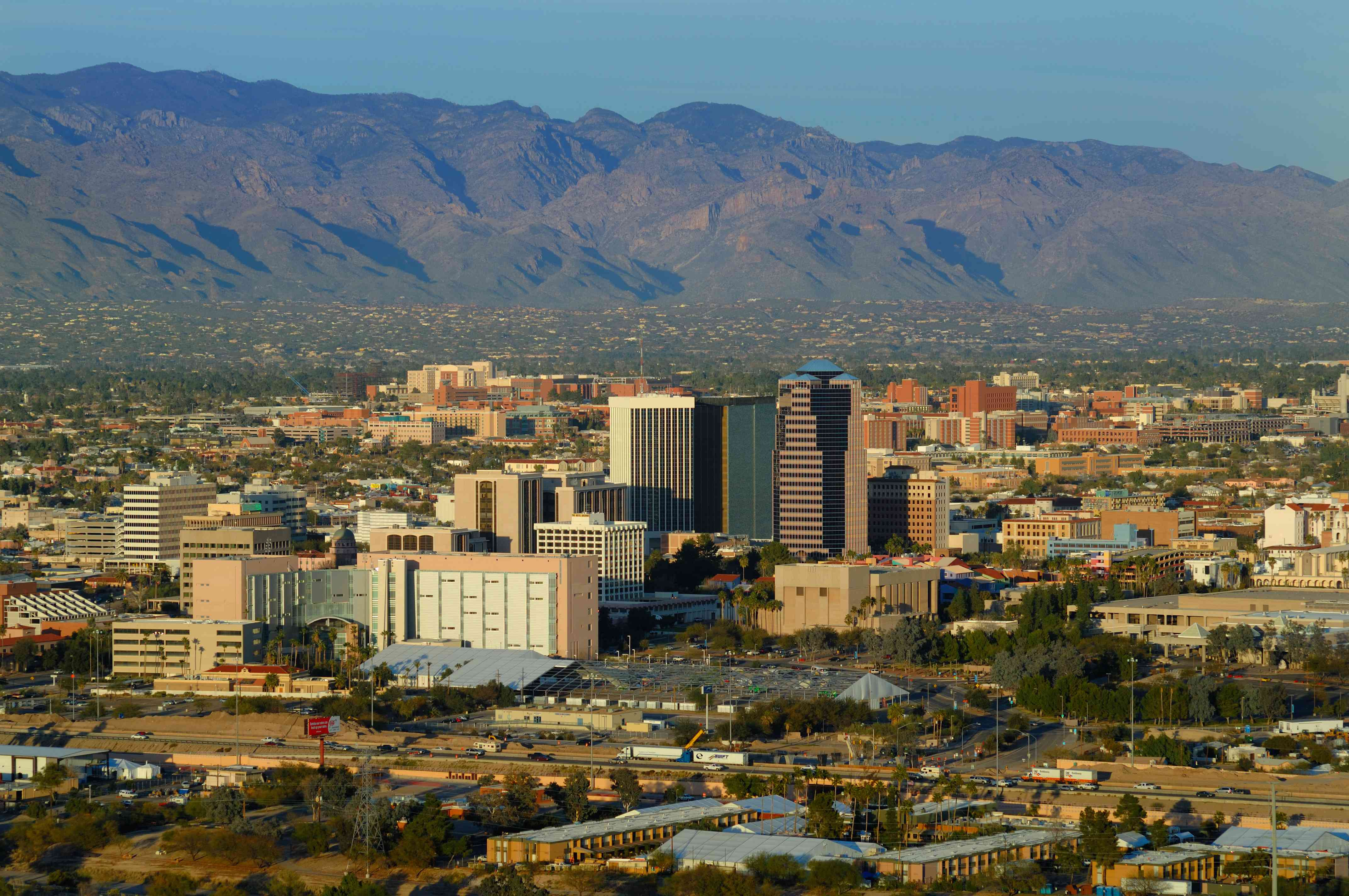 Skyline of downtown Tucson against the mountains