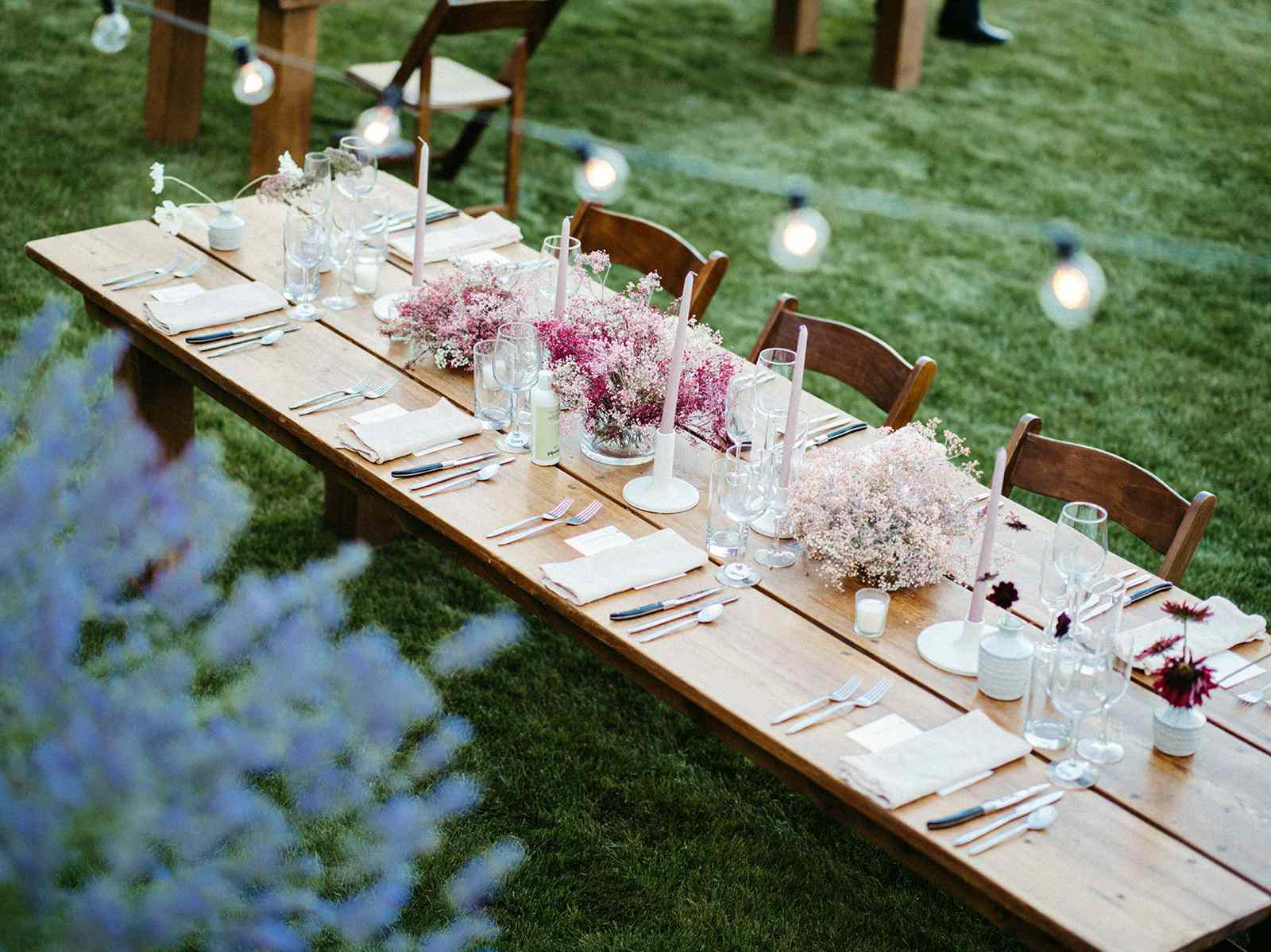 painted baby's breath centerpieces