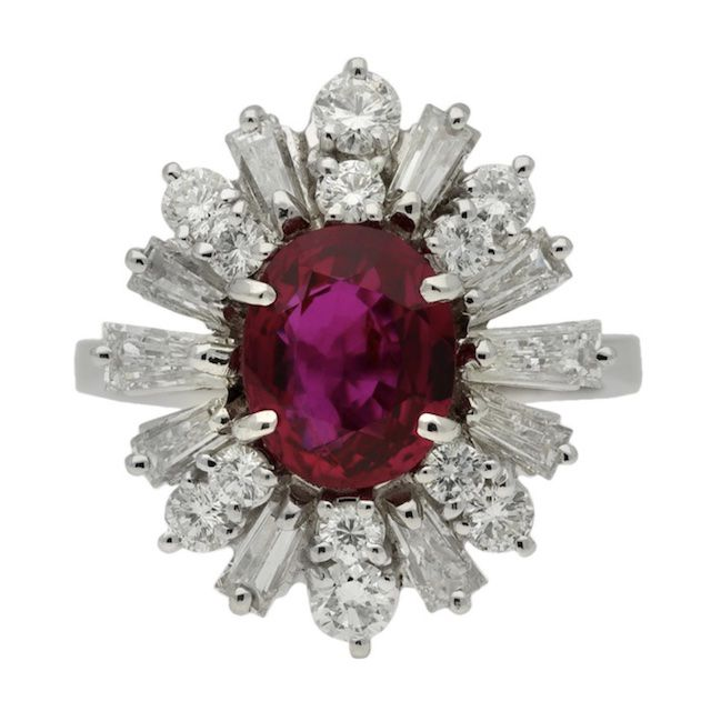 Berganza Vintage Ruby and Diamond Cluster Ring