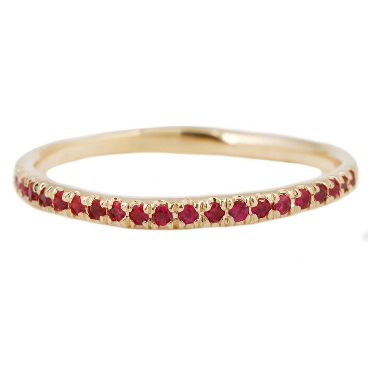 Lauren Wolf Yellow Gold Eternity Band With Rubies