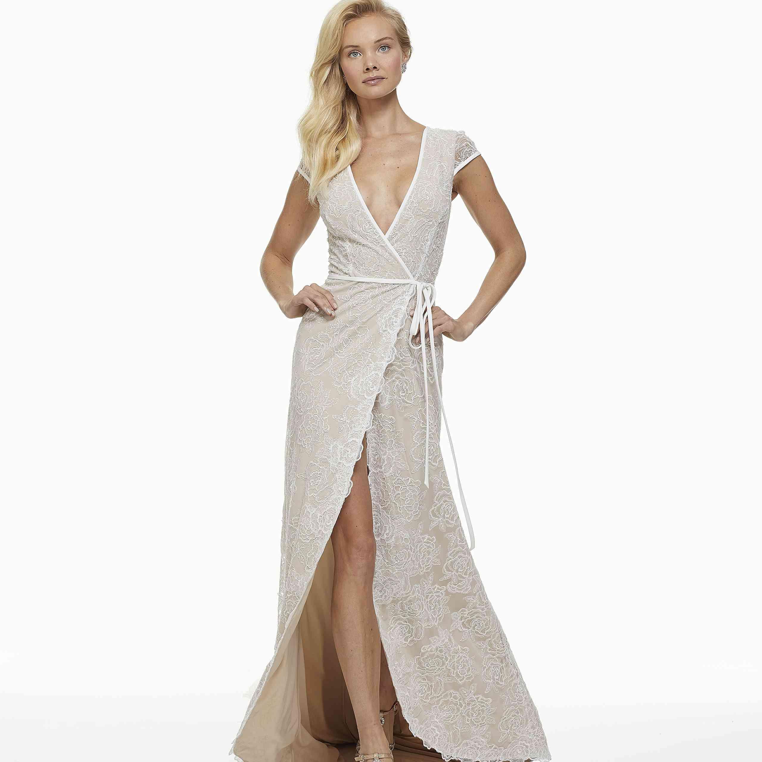 Model in wraparound lace wedding dress