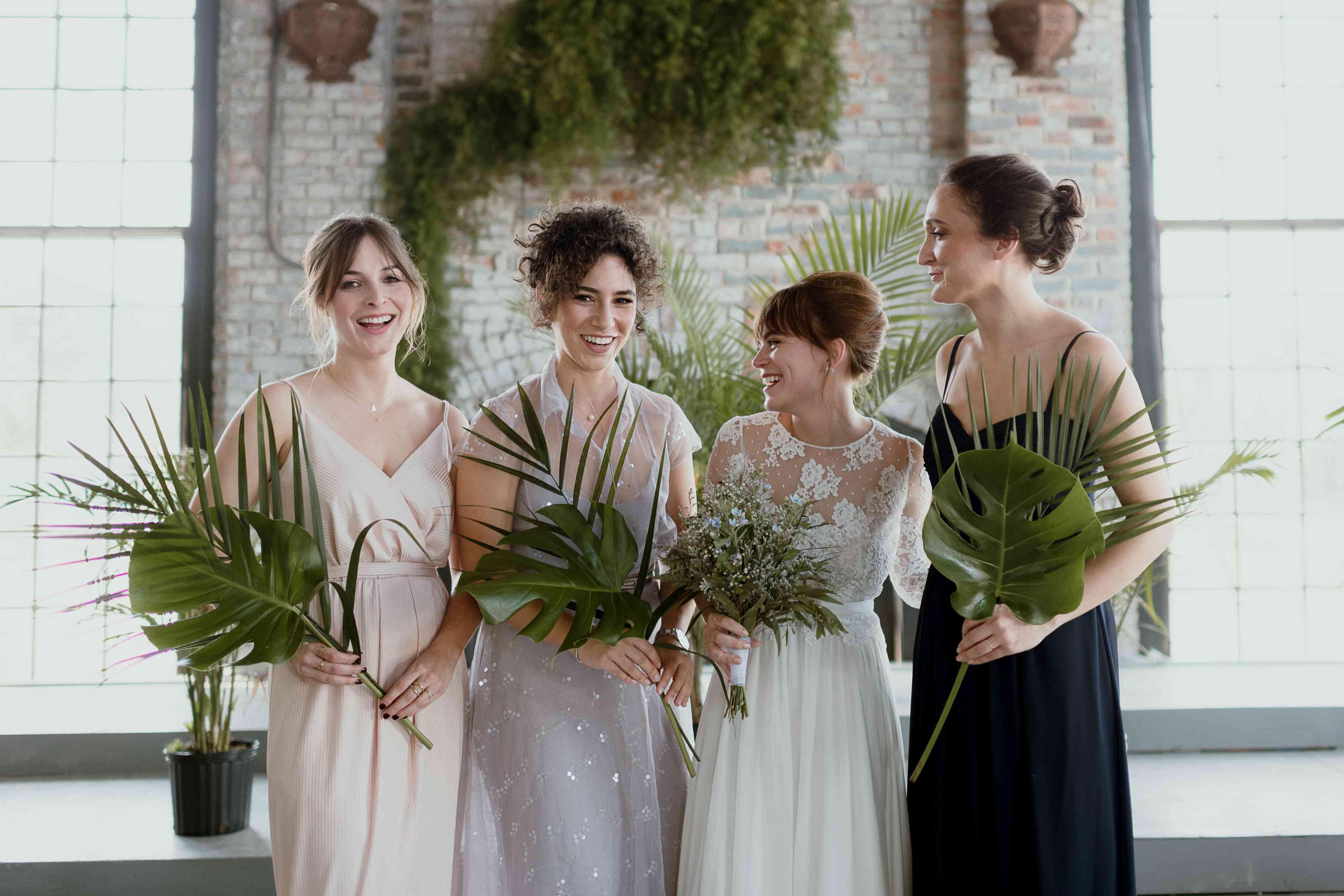 <p>mismatched bridesmaids</p><br><br>